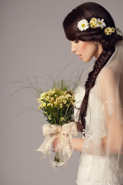 Bride with Hand Tied Floral Bouquet created by our Florist for your Wedding Day