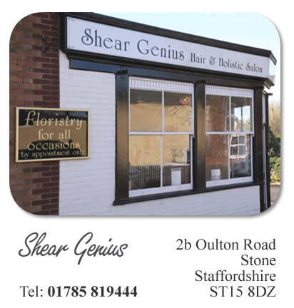 Contact us in Stone, near Stoke on Trent, Staffordshire our address: Shear Genius, 2b Oulton Road, Stone, Staffordshire, ST15 8DZ. Telelphone: 01785 819444